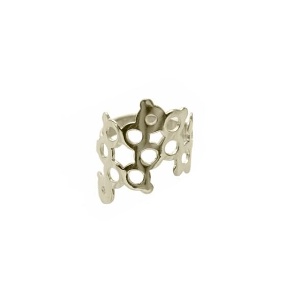Serotonin Molecule Sterling Silver Ring.
