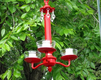 HANGING CHANDELIER CANDLE Holder/Flowerpot Holder - Oak 3 arm / Red with Clear Glass Votives /Outdoor /Indoor