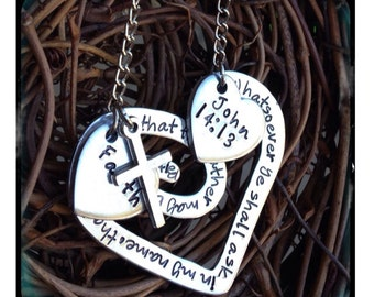 Personalized Hand Stamped Scripture Heart Necklace