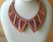 Nouveau Necklace DIY Crochet Kit (Pink-Rose-Mauve-Gold / Silky Oak Wood)