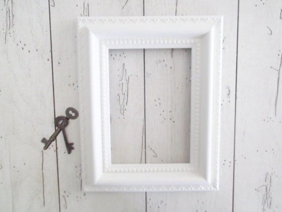Rustic White Picture Frame Farmhouse Photo Holder Wedding Decor 5 x 7 Open Frame Gallery Wall Nursery