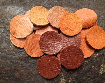 Leather Diffuser Pads Set of 12 Pads for Essential Oil Diffuser Necklace ,12 one inch leather circle pads for Aromatherapy Necklaces