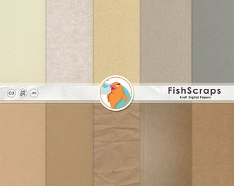Rustic Kraft Digital Paper, Brown Craft Paper Background, Recycled Cardboard Texture, Basic Neutral Tan, Beige, Instant Download
