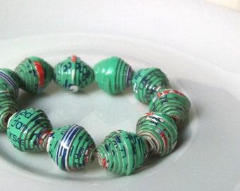 11 paper beads - aqua green -