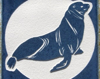 4x4 Sea Lion Etched Porcelain Tile - SRA