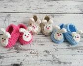 Crochet Bunny Booties - Crochet Bunny Slippers - Baby Girl Easter Bunny Shoes- NEWBORN