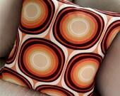 "Boho Retro Pillow Cover -- Terra Cotta Mondo -- shown with 18"" x 18"" insert -- New Designer Decorator Fabric"
