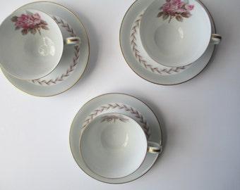 Vintage Noritake Teacups and Saucers Rosemont Set of Three