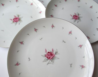 Vintage Meito Pink Gray Rose Dinner Plates Set of  Five