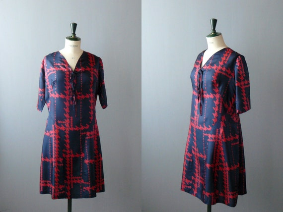 Vintage 1940s blue silk dress with red geometric pattern