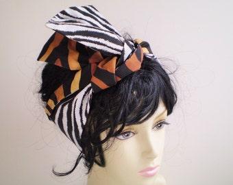 Small African Zebra Head Wrap, African Animal Head Scarf, Zebra Head Scarf, African Animal Hair Wrap