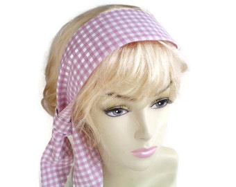 Pink White Check Head Scarf, Pink White Gingham Head Scarf, 2016 Spring Fashion Trend, Pastel Pink Knot Head Scarf