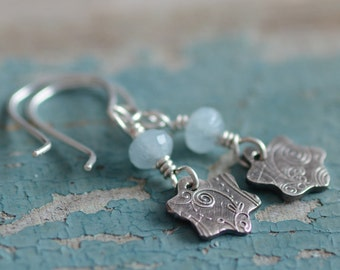 Fine Silver Charm Earrings Aquamarine Gemstone Jewelry Sterling Silver and Fine Silver Textured Artisan Earrings