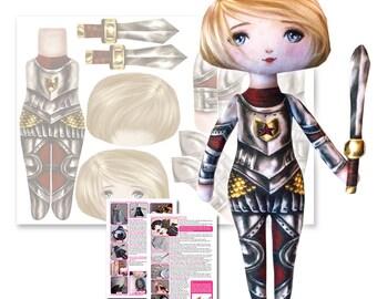 Star the Knight - Goth Girl Printed Fabric Cloth Doll Pattern - DIY Darling