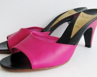 Vintage 80s Seducta Hot Pink Leather French Open Toe High Heel Mules Slip On Shoes 6 B