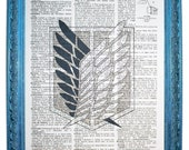 vintage dictionary art print 7.75x10.75 inches - attack on titan wings of freedom survey corps dictionary page prints on dictionary paper