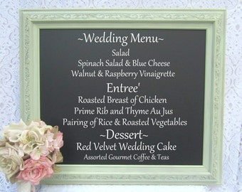 "RUSTIC FRAMED CHALKBOARD Menu Board Chalk board Celery Green Framed Vintage Wedding 27""x 23"" Shabby Chic Magnetic Chalkboard Unique Gift"