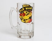 Vintage 80s Pac Man Oversized Glass Beer Mug