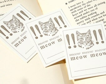 Meow Meow Meow - Ridiculous CAT Letterpress Bookplates, Silly Name Tags - Set of 25