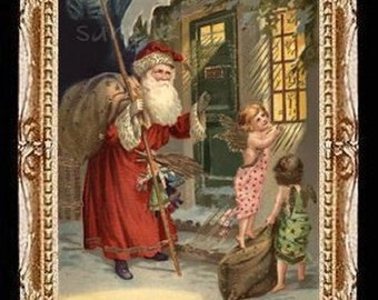 Here Comes Santa Claus Miniature Dollhouse Art Picture 6857