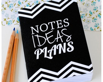 Notes, Ideas & Plans Notebook – Ideas Journal – Pocket Notebook – Doodle Notepad – Monochrome Planner – Black and White Notebook
