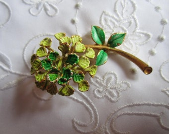 Vintage Flower Brooch with Lime Green and Bright Green Petals