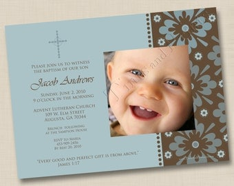 Gift from Above Custom Boy Baptism or Christening Announcement or Birth Announcement Design