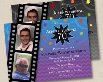A Modern Life in Film Milestone Birthday or Anniversary Party Custom Photo Invitation Design- any age