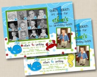 Splish Splash I'm Turning One Custom Birthday Party Collage Photo Invitation Design