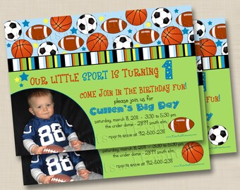 Our Little Sport Custom Birthday Party Photo Invitation Design- any age