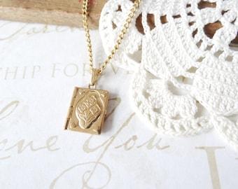 a secret KEPT vintage bloom book locket necklace (gold) | bookworm | reader | keepsake | unique | english | nerd