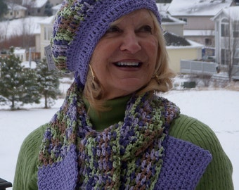 Women's fashion green purple winter hat scarf set women crochet accessories