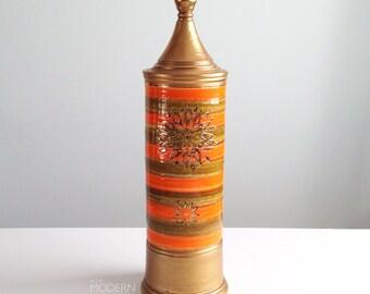 Vintage Rosenthal Netter Italy Gold and Orange Tall Covered Jar Canister Mid Century Modern Aldo Londi