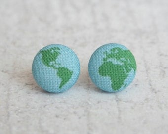 Planet Earth Fabric Button Earrings