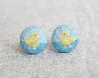 Duckling Fabric Button Earrings