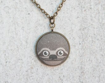Sloth Fabric Button Pendant Necklace