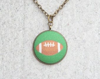 Football, Fabric Button Pendant Necklace