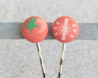 Tomato, Fabric Covered Button Bobby Pin Pair