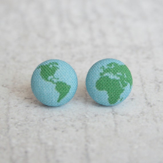 Planet earth fabric button earrings for Fabric planet