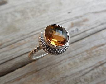 Madeira citrine ring handmade in sterling silver 925