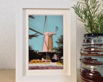 Murphy Windmill, Golden Gate Park, San Francisco, California - framed vintage postcard
