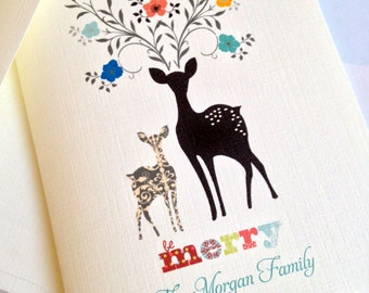 Personalized Christmas Cards, Reindeer Cards, Set of 10