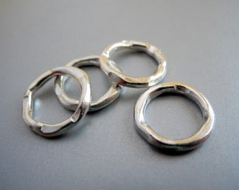 Hammered Hill Tribe Silver Ring Connector 15mm 2mm