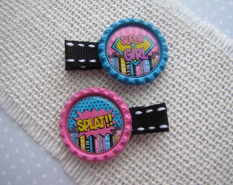 Supergirl . bottlecap clippies . girls hair accessory . pink teal
