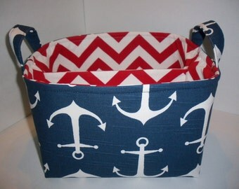 Large Diaper Caddy 10 x 10 x 7 / Organizer Bin / Navy White Anchor Red Chevron- Nautical - Personalization Available
