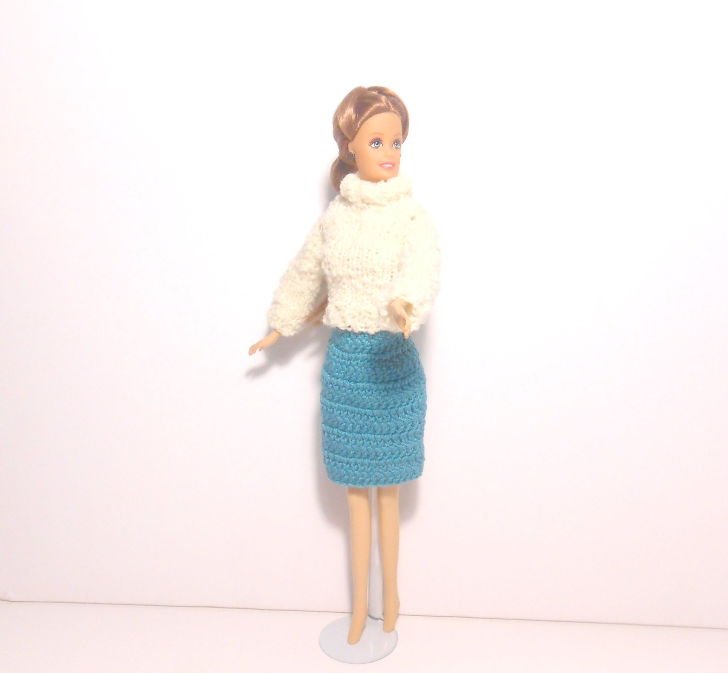 Fashion Doll Skirt and Turtle Neck Sweater Crocheted Doll