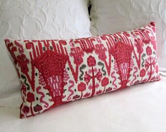BOMBAY GERANIUM  designer fabric accent lumbar Bolster Pillow 12x26 insert included
