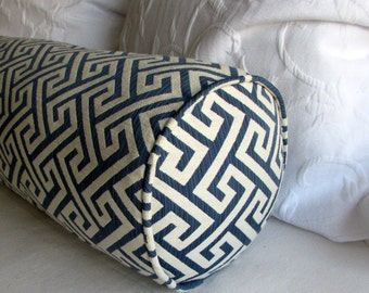 8x36 daybed size NAVY and ECRU bolster Pillow
