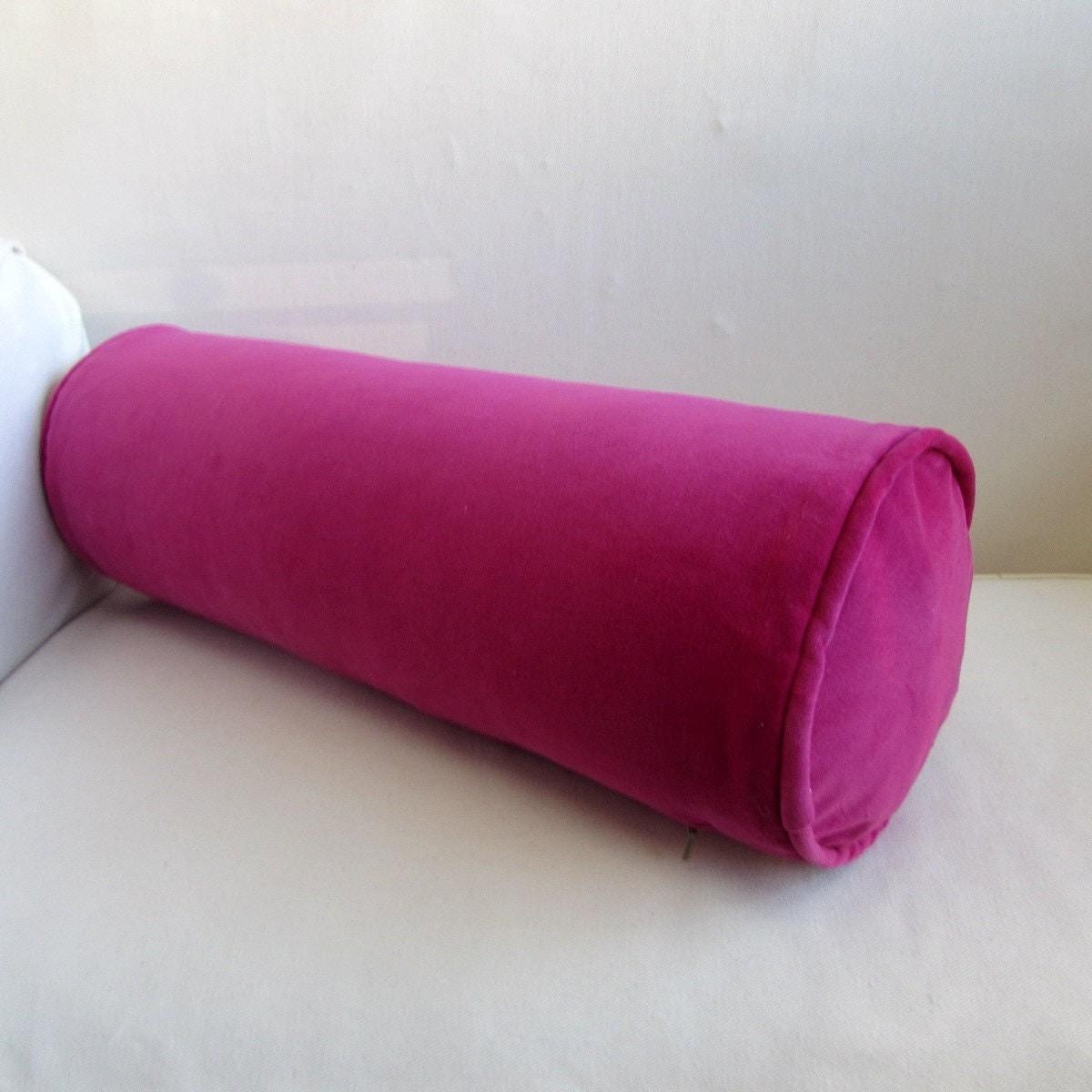 VELVET in FUSCIA pink bolster lumbar throw pillow 7x20