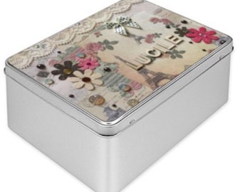 Personalised Treasure Gift Tin Box with Tour Eiffel French vintage